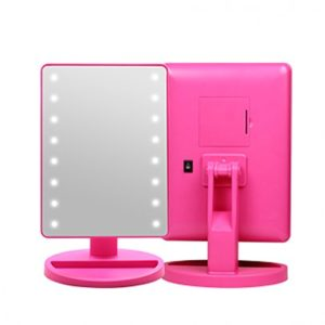 [CORINGCO] Pink Bling Bling LED Touch Mirror (Hot Pink)