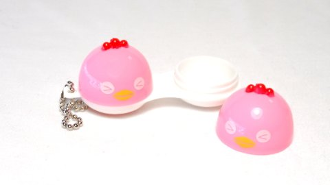 Contact Lens Case Keychain Chick