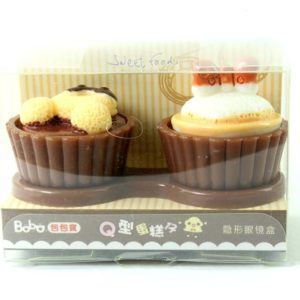 Cupcake Contact Lens Case Chocolate 3D