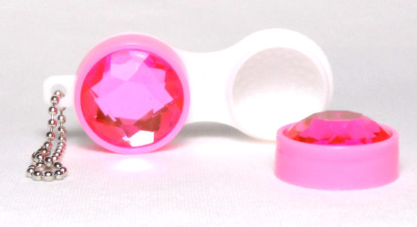 Keychain Diamond Pink Contact Lens Case
